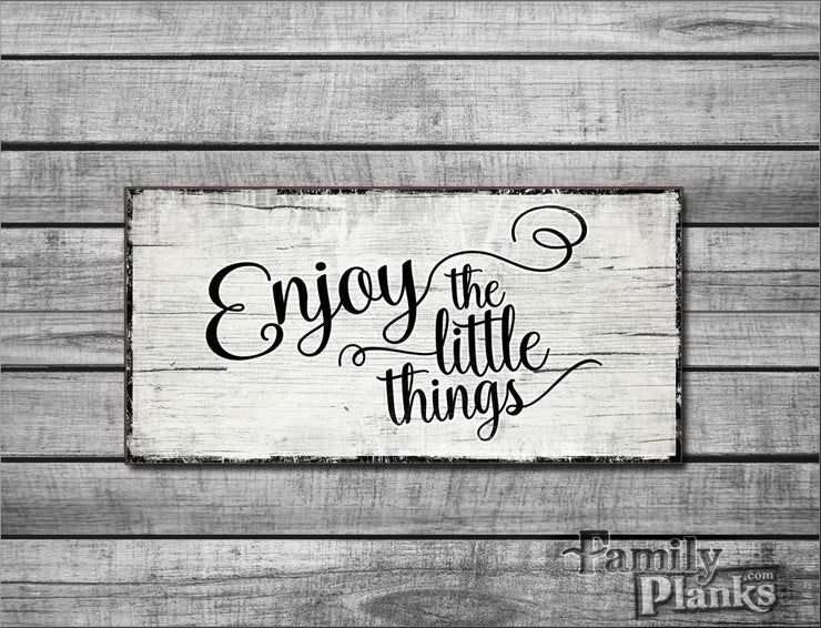 "12""x24"" Enjoy The Little Things on White Washed Distressed Wood Plank Wall Art R-20"