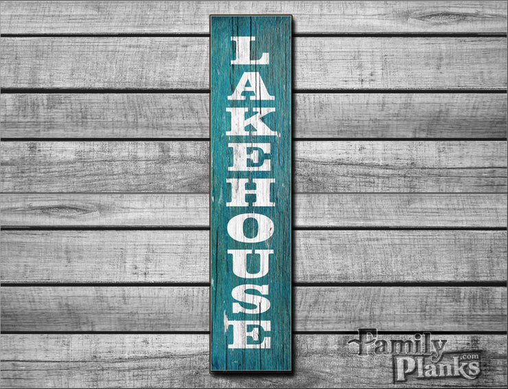 "9.5""x36""  Lakehouse Vertical Lettering on Distressed Barn Wood Plank Wall Art R-41"