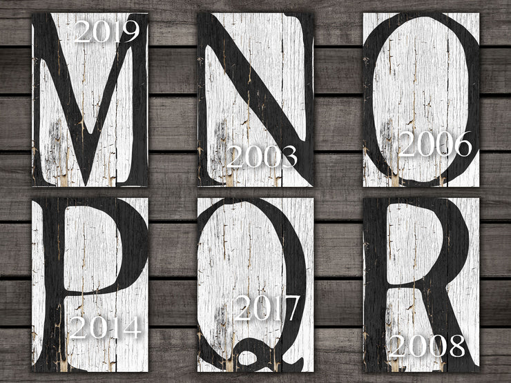 "Distressed, Whitewashed Monogram with est. Date 12""x18"""