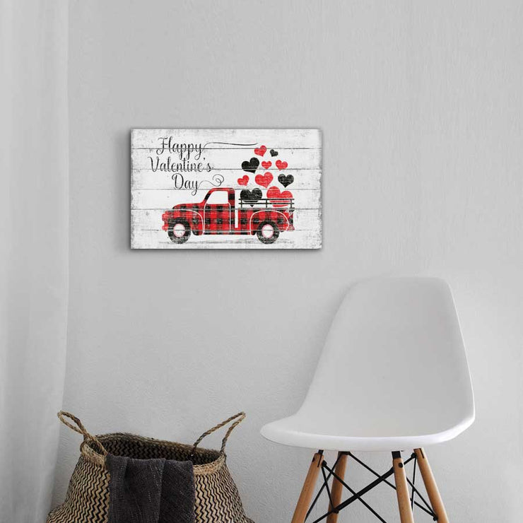 Personalize This Happy Valentines Day Plaid Vintage Truck Plank!