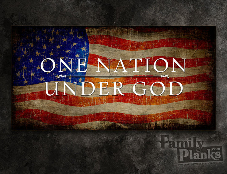 One Nation Under God Flag Wood Plank GG-49