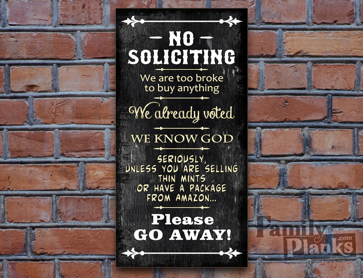 No Soliciting Go Away Wood Plank GG-52