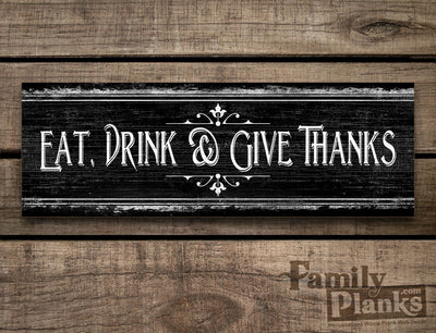 Give Thanks on a Dark Distressed Wood Plank GG-81