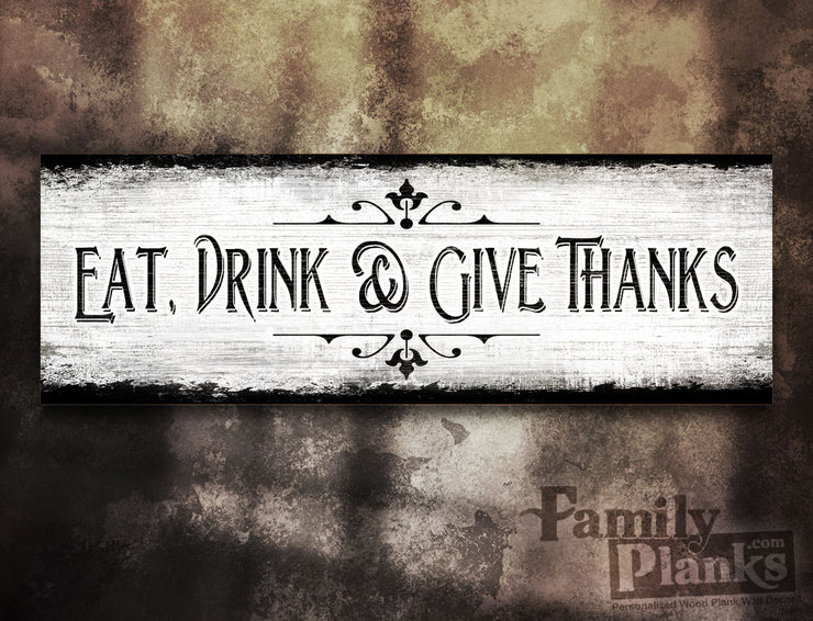 Give Thanks on a White-Washed Distressed Wood Plank GG-82