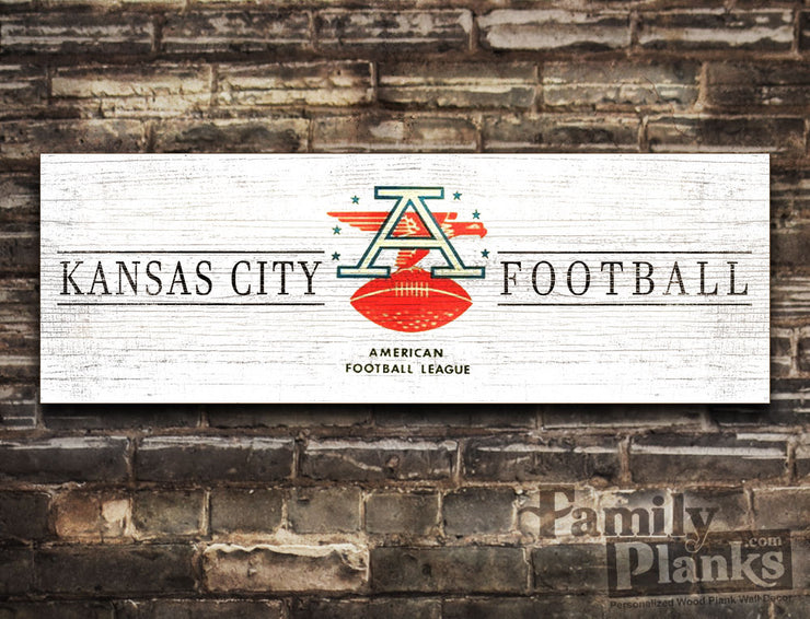 Vintage KC Football on a White-Washed Distressed Wood Plank GG-83