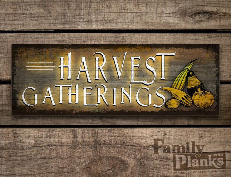 Harvest Gatherings on a Dark Distressed Wood Plank GG-85