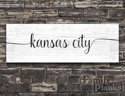 Kansas City on a White-Washed Wood Plank GG-87
