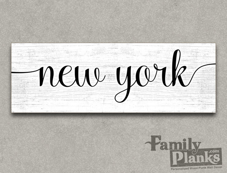 New York on a White-Washed Wood Plank GG-90