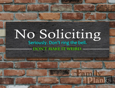 No Soliciting Wood Plank GG-95