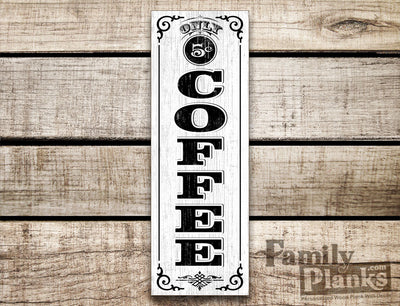 Vertical Coffee Lettering on a White Washed Wood Plank Rustic Farmhouse Decor R-37