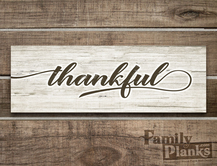 "8""x24""  Thankful Wood Plank Farmhouse Decor R-13"