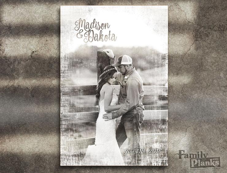 Whitewashed Wedding Photo on Wood P-122