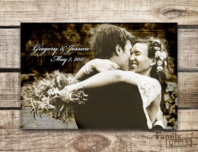 Personalized, Vintage Wedding Wood Plank With Vintage Sepia-tone Effect P31