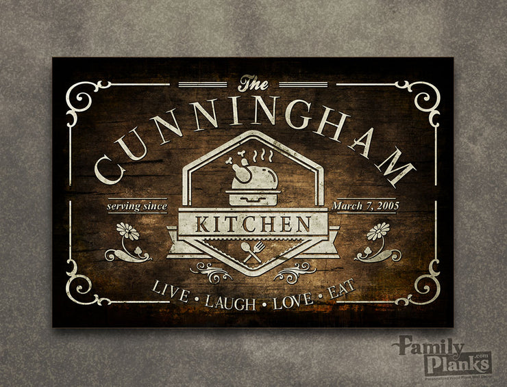 Personalized Family Kitchen Wood Plank P-71