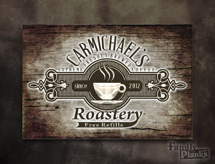 Personalized Family Roastery Wood Plank P-75