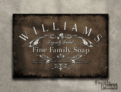 Personalized Family Soap Wood Plank P-76