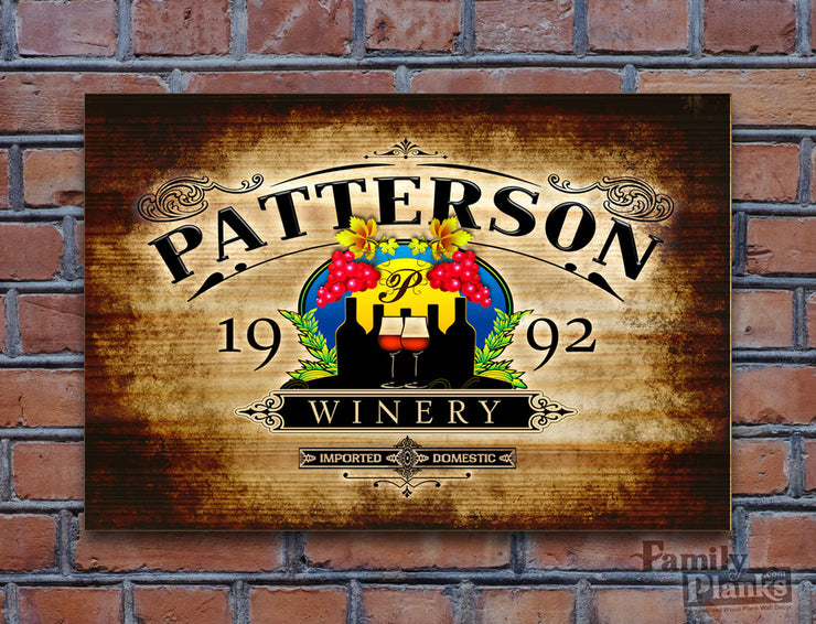 Personalized Family Winery Wood Plank P-77