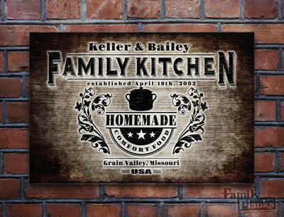 Personalized Family Kitchen Wood Plank P72