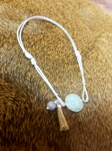 Grey Cord and Amazonite Anklet