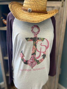 Floral Anchor Raglan T-Shirt