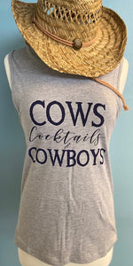 Cows,Cocktails & Cowboys Adult Western Tee Crew