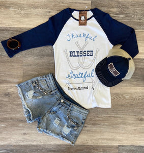 """Thankful, Grateful, Blessed"" 3/4 Sleeve Top"