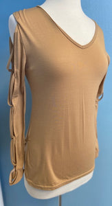 Tan Ladies Top With Criss-Cross Detail Sleeve