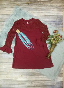 Wine Dress with Lace Top and Sleeve