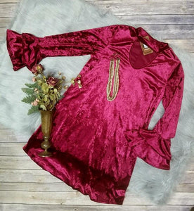 Wine Velvet Dress with Ruffles