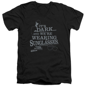 Blues Brothers - Its Dark Short Sleeve Adult V Neck