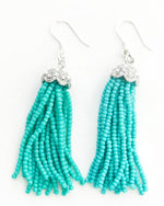Tiffany Blue and Silver Tassel Earrings