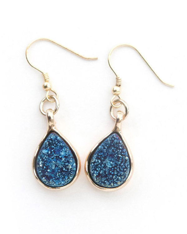 Blue Rain - Genuine Stone Crystal Drop Earrings