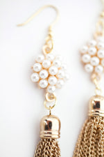 The Sophia - Pearl Cluster and Gold Tassel Earrings