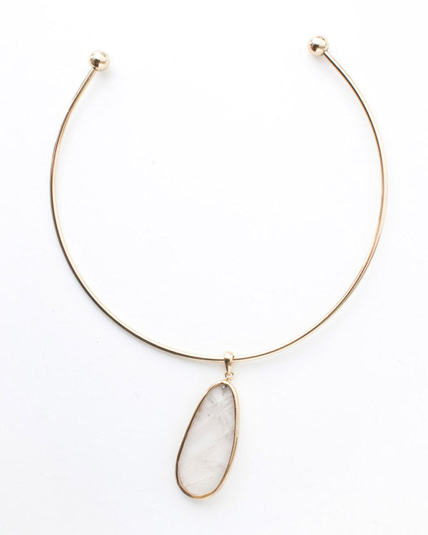 Gold Cuff Crystal Pendant Necklace