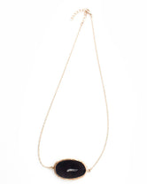 Midnight - Genuine Stone Black Agate Gold Necklace