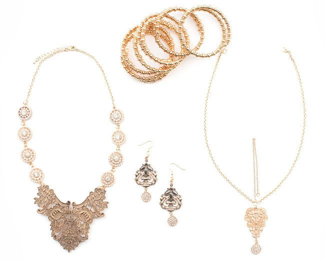 The Palace Wedding Collection - Complete Vintage Gold Tone South Asian Jewelry Set