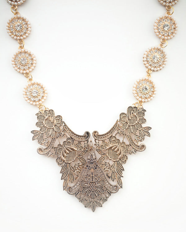 Palace Necklace - Vintage Gold Tone Bridal Necklace