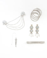 The Princess Wedding Collection - Complete Crystal Silver Tone South Asian Jewelry Set