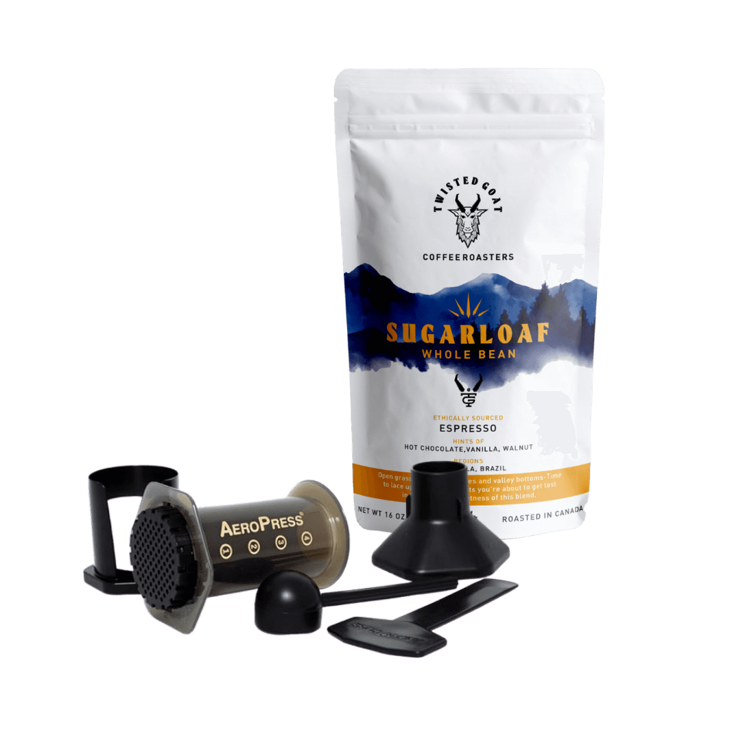 Aeropress Coffee Press Kit With A 16 Oz Bag Of Twisted Goat Coffee Shown On A White Background