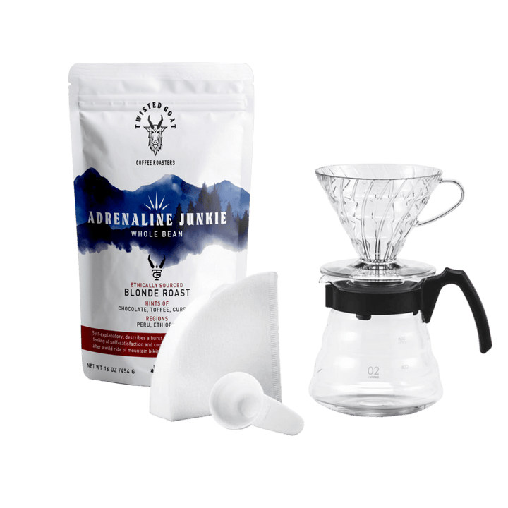 Hario Pour Over Coffee Kit With A 16oz Bag Of Coffee Beans From Twisted Goat Coffee