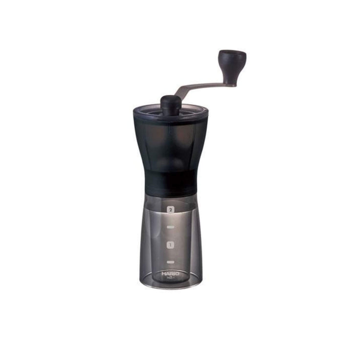 Front View Of A Black Mini Slim Manual Coffee Grinder