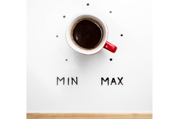 top view of a cup of coffee with a min max level guide