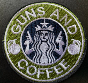 Guns and Coffee iron on patch