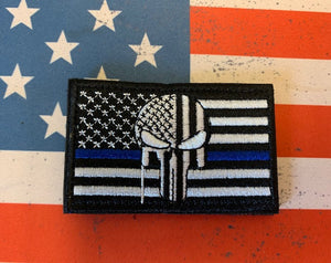 Tactical Patch - US Flag thin blue line w Punisher
