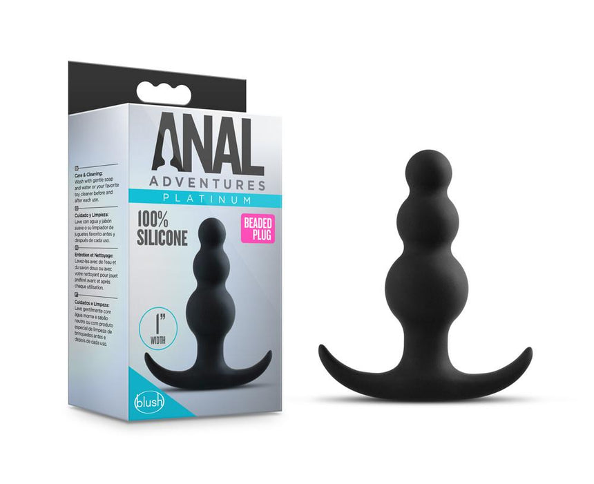 Anal Adventures Platinum - Beaded Plug - Black
