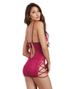 Chemise, G-String - One Size - Raspberry