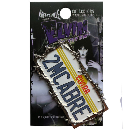 Elvira License Plate Enamel Pin