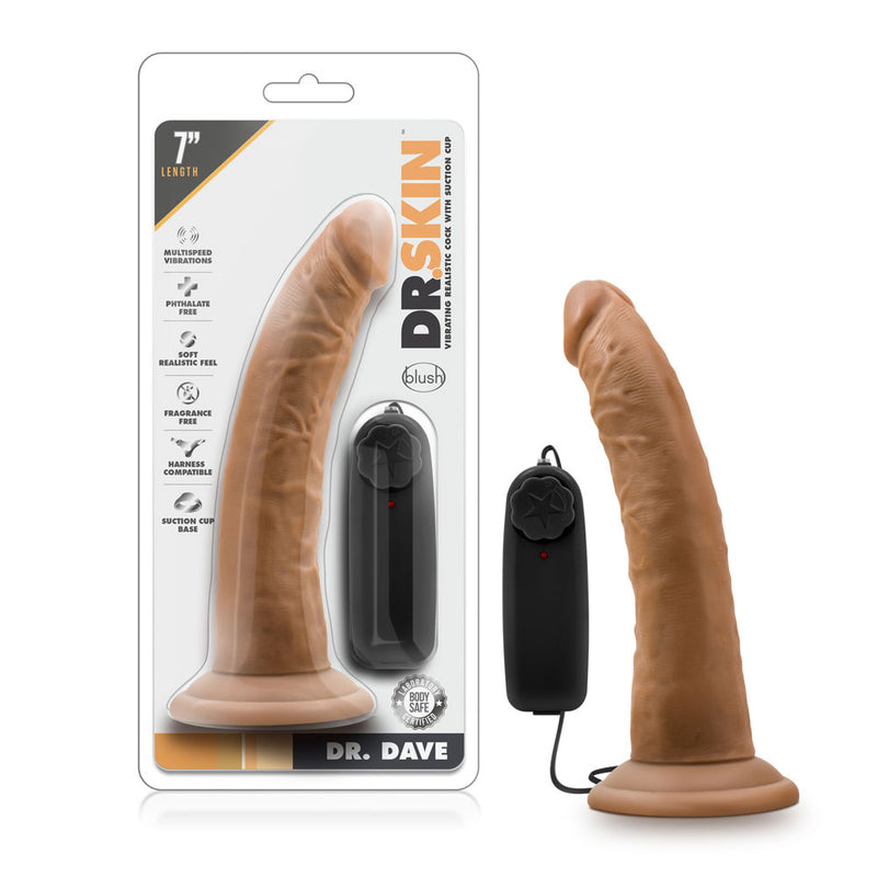 Dr. Skin - Dr. Dave - 7 Inch Vibrating Cock With  Suction Cup - Mocha