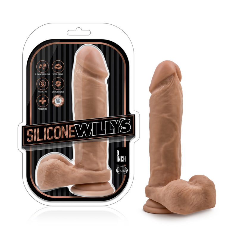 Silicone Willy's - 10.5 Inch Silicone Dildo With  Suction Cup - Mocha