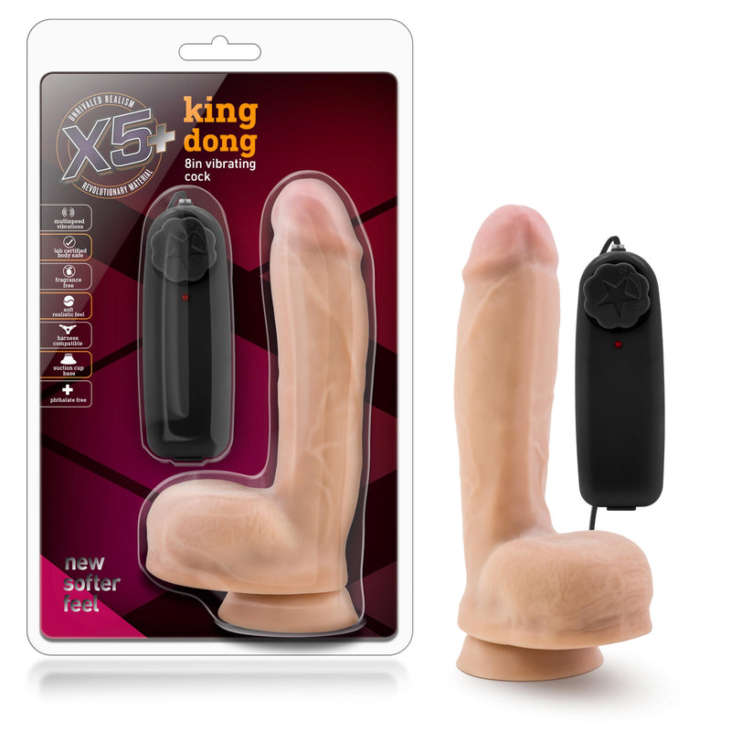 X5 Plus - King Dong - 8 Inch Vibrating Cock -  Vanilla